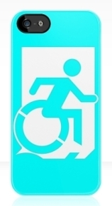 Accessible Means of Egress Icon Exit Sign Wheelchair Wheelie Running Man Symbol by Lee Wilson PWD Disability Emergency Evacuation iPhone Case 56