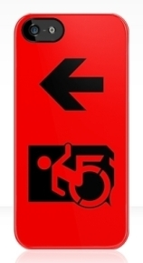 Accessible Means of Egress Icon Exit Sign Wheelchair Wheelie Running Man Symbol by Lee Wilson PWD Disability Emergency Evacuation iPhone Case 57