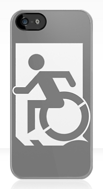 Accessible Means of Egress Icon Exit Sign Wheelchair Wheelie Running Man Symbol by Lee Wilson PWD Disability Emergency Evacuation iPhone Case 58