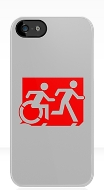 Accessible Means of Egress Icon Exit Sign Wheelchair Wheelie Running Man Symbol by Lee Wilson PWD Disability Emergency Evacuation iPhone Case 59