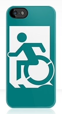 Accessible Means of Egress Icon Exit Sign Wheelchair Wheelie Running Man Symbol by Lee Wilson PWD Disability Emergency Evacuation iPhone Case 60