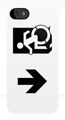 Accessible Means of Egress Icon Exit Sign Wheelchair Wheelie Running Man Symbol by Lee Wilson PWD Disability Emergency Evacuation iPhone Case 61