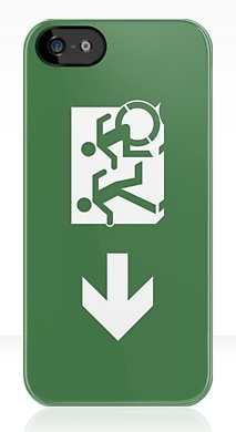 Accessible Means of Egress Icon Exit Sign Wheelchair Wheelie Running Man Symbol by Lee Wilson PWD Disability Emergency Evacuation iPhone Case 6