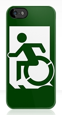 Accessible Means of Egress Icon Exit Sign Wheelchair Wheelie Running Man Symbol by Lee Wilson PWD Disability Emergency Evacuation iPhone Case 62