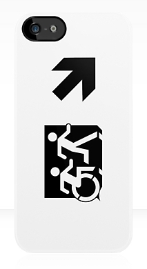 Accessible Means of Egress Icon Exit Sign Wheelchair Wheelie Running Man Symbol by Lee Wilson PWD Disability Emergency Evacuation iPhone Case 63