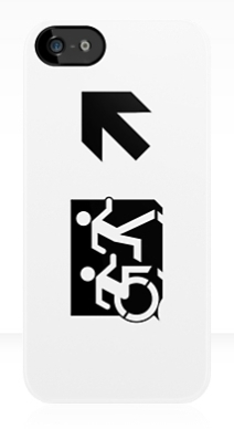 Accessible Means of Egress Icon Exit Sign Wheelchair Wheelie Running Man Symbol by Lee Wilson PWD Disability Emergency Evacuation iPhone Case 64