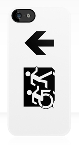 Accessible Means of Egress Icon Exit Sign Wheelchair Wheelie Running Man Symbol by Lee Wilson PWD Disability Emergency Evacuation iPhone Case 66