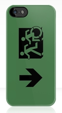 Accessible Means of Egress Icon Exit Sign Wheelchair Wheelie Running Man Symbol by Lee Wilson PWD Disability Emergency Evacuation iPhone Case 68
