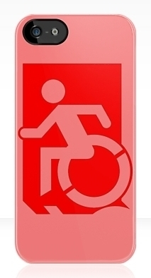 Accessible Means of Egress Icon Exit Sign Wheelchair Wheelie Running Man Symbol by Lee Wilson PWD Disability Emergency Evacuation iPhone Case 69