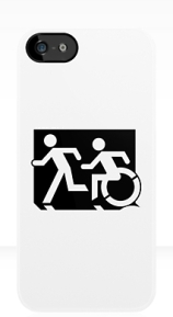 Accessible Means of Egress Icon Exit Sign Wheelchair Wheelie Running Man Symbol by Lee Wilson PWD Disability Emergency Evacuation iPhone Case 70