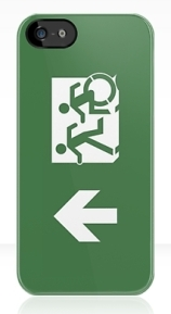 Accessible Means of Egress Icon Exit Sign Wheelchair Wheelie Running Man Symbol by Lee Wilson PWD Disability Emergency Evacuation iPhone Case 7