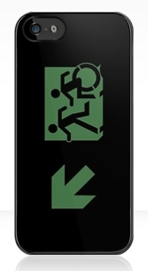 Accessible Means of Egress Icon Exit Sign Wheelchair Wheelie Running Man Symbol by Lee Wilson PWD Disability Emergency Evacuation iPhone Case 71