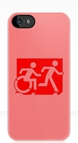 Accessible Means of Egress Icon Exit Sign Wheelchair Wheelie Running Man Symbol by Lee Wilson PWD Disability Emergency Evacuation iPhone Case 72