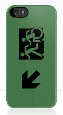 Accessible Means of Egress Icon Exit Sign Wheelchair Wheelie Running Man Symbol by Lee Wilson PWD Disability Emergency Evacuation iPhone Case 73