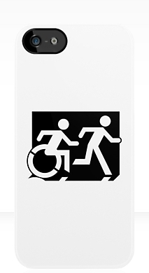 Accessible Means of Egress Icon Exit Sign Wheelchair Wheelie Running Man Symbol by Lee Wilson PWD Disability Emergency Evacuation iPhone Case 74