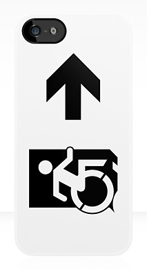 Accessible Means of Egress Icon Exit Sign Wheelchair Wheelie Running Man Symbol by Lee Wilson PWD Disability Emergency Evacuation iPhone Case 75
