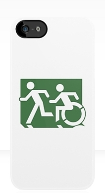 Accessible Means of Egress Icon Exit Sign Wheelchair Wheelie Running Man Symbol by Lee Wilson PWD Disability Emergency Evacuation iPhone Case 76