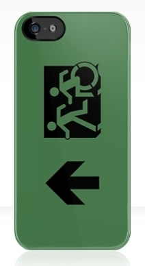 Accessible Means of Egress Icon Exit Sign Wheelchair Wheelie Running Man Symbol by Lee Wilson PWD Disability Emergency Evacuation iPhone Case 77
