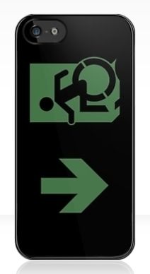 Accessible Means of Egress Icon Exit Sign Wheelchair Wheelie Running Man Symbol by Lee Wilson PWD Disability Emergency Evacuation iPhone Case 78