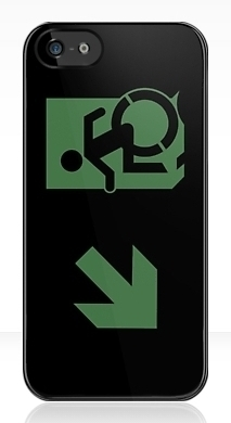 Accessible Means of Egress Icon Exit Sign Wheelchair Wheelie Running Man Symbol by Lee Wilson PWD Disability Emergency Evacuation iPhone Case 79