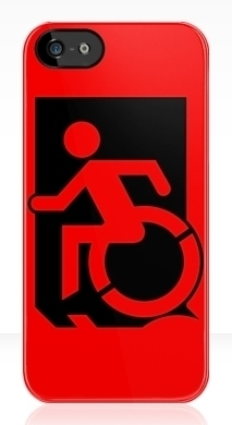 Accessible Means of Egress Icon Exit Sign Wheelchair Wheelie Running Man Symbol by Lee Wilson PWD Disability Emergency Evacuation iPhone Case 80