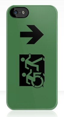 Accessible Means of Egress Icon Exit Sign Wheelchair Wheelie Running Man Symbol by Lee Wilson PWD Disability Emergency Evacuation iPhone Case 81