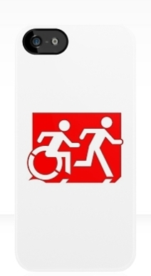 Accessible Means of Egress Icon Exit Sign Wheelchair Wheelie Running Man Symbol by Lee Wilson PWD Disability Emergency Evacuation iPhone Case 82