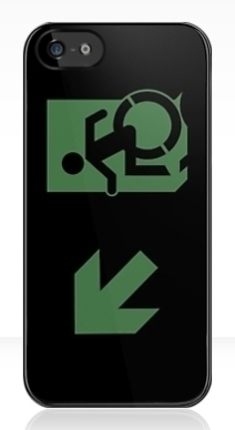 Accessible Means of Egress Icon Exit Sign Wheelchair Wheelie Running Man Symbol by Lee Wilson PWD Disability Emergency Evacuation iPhone Case 83
