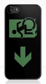 Accessible Means of Egress Icon Exit Sign Wheelchair Wheelie Running Man Symbol by Lee Wilson PWD Disability Emergency Evacuation iPhone Case 84