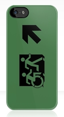 Accessible Means of Egress Icon Exit Sign Wheelchair Wheelie Running Man Symbol by Lee Wilson PWD Disability Emergency Evacuation iPhone Case 85