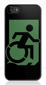 Accessible Means of Egress Icon Exit Sign Wheelchair Wheelie Running Man Symbol by Lee Wilson PWD Disability Emergency Evacuation iPhone Case 86