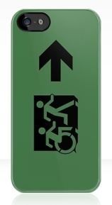Accessible Means of Egress Icon Exit Sign Wheelchair Wheelie Running Man Symbol by Lee Wilson PWD Disability Emergency Evacuation iPhone Case 87