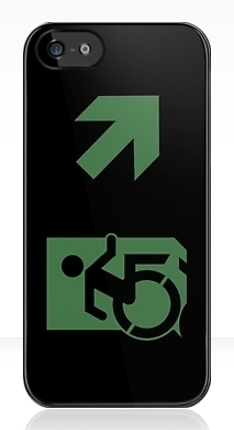 Accessible Means of Egress Icon Exit Sign Wheelchair Wheelie Running Man Symbol by Lee Wilson PWD Disability Emergency Evacuation iPhone Case 88