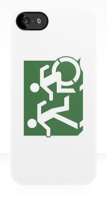 Accessible Means of Egress Icon Exit Sign Wheelchair Wheelie Running Man Symbol by Lee Wilson PWD Disability Emergency Evacuation iPhone Case 89