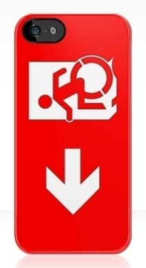 Accessible Means of Egress Icon Exit Sign Wheelchair Wheelie Running Man Symbol by Lee Wilson PWD Disability Emergency Evacuation iPhone Case 9