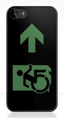 Accessible Means of Egress Icon Exit Sign Wheelchair Wheelie Running Man Symbol by Lee Wilson PWD Disability Emergency Evacuation iPhone Case 90