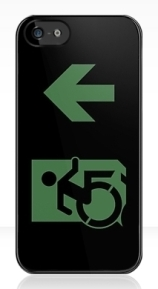 Accessible Means of Egress Icon Exit Sign Wheelchair Wheelie Running Man Symbol by Lee Wilson PWD Disability Emergency Evacuation iPhone Case 91