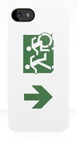 Accessible Means of Egress Icon Exit Sign Wheelchair Wheelie Running Man Symbol by Lee Wilson PWD Disability Emergency Evacuation iPhone Case 92