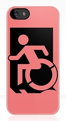 Accessible Means of Egress Icon Exit Sign Wheelchair Wheelie Running Man Symbol by Lee Wilson PWD Disability Emergency Evacuation iPhone Case 93