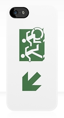 Accessible Means of Egress Icon Exit Sign Wheelchair Wheelie Running Man Symbol by Lee Wilson PWD Disability Emergency Evacuation iPhone Case 94