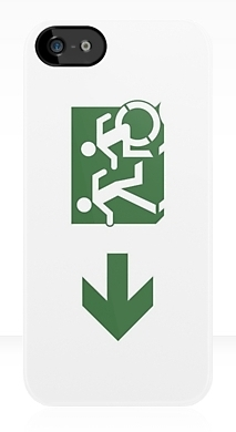 Accessible Means of Egress Icon Exit Sign Wheelchair Wheelie Running Man Symbol by Lee Wilson PWD Disability Emergency Evacuation iPhone Case 95