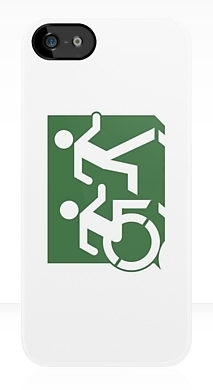 Accessible Means of Egress Icon Exit Sign Wheelchair Wheelie Running Man Symbol by Lee Wilson PWD Disability Emergency Evacuation iPhone Case 96