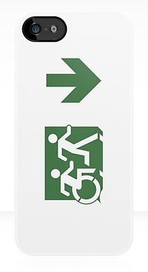 Accessible Means of Egress Icon Exit Sign Wheelchair Wheelie Running Man Symbol by Lee Wilson PWD Disability Emergency Evacuation iPhone Case 97