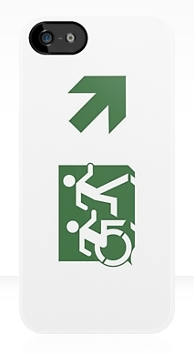 Accessible Means of Egress Icon Exit Sign Wheelchair Wheelie Running Man Symbol by Lee Wilson PWD Disability Emergency Evacuation iPhone Case 98