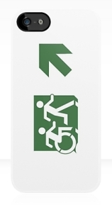 Accessible Means of Egress Icon Exit Sign Wheelchair Wheelie Running Man Symbol by Lee Wilson PWD Disability Emergency Evacuation iPhone Case 99