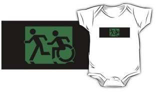Accessible Means of Egress Icon Exit Sign Wheelchair Wheelie Running Man Symbol by Lee Wilson PWD Disability Emergency Evacuation Kids T-shirt 1