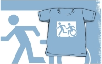Accessible Means of Egress Icon Exit Sign Wheelchair Wheelie Running Man Symbol by Lee Wilson PWD Disability Emergency Evacuation Kids T-shirt 100