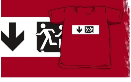 Accessible Means of Egress Icon Exit Sign Wheelchair Wheelie Running Man Symbol by Lee Wilson PWD Disability Emergency Evacuation Kids T-shirt 106