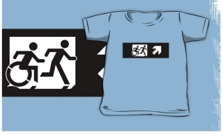 Accessible Means of Egress Icon Exit Sign Wheelchair Wheelie Running Man Symbol by Lee Wilson PWD Disability Emergency Evacuation Kids T-shirt 109