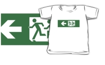 Accessible Means of Egress Icon Exit Sign Wheelchair Wheelie Running Man Symbol by Lee Wilson PWD Disability Emergency Evacuation Kids T-shirt 11